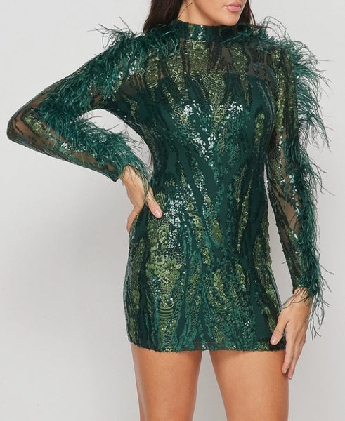 Green With Envy Sequin Mini Dress