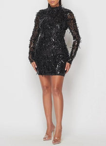 Black Sword Sequin Mini Dress