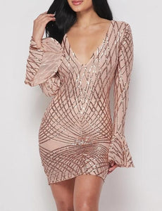 Golden Threads Rose Gold Sequin V-Neck Mini Dress With Bell Sleeves