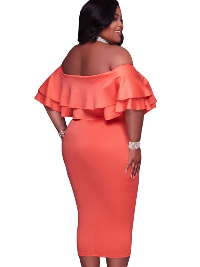 Plus Size Slash Neck Off Shoulder Bodycon Dress