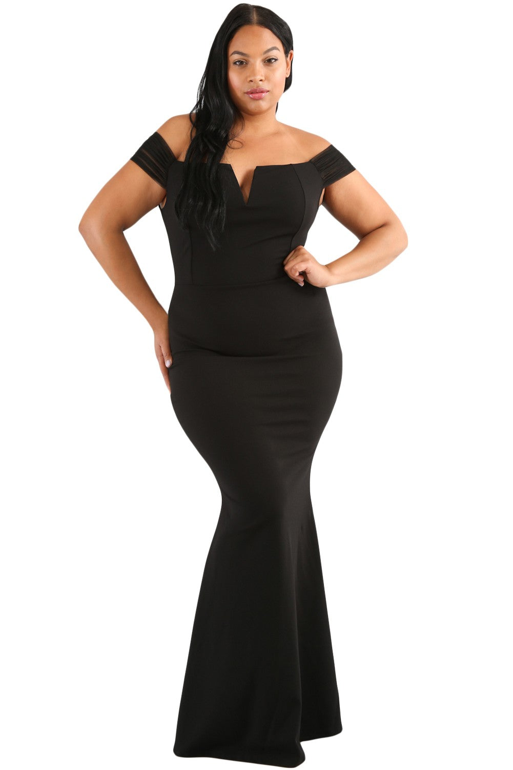 Janice -Black Off Shoulder Cocktail Evening Dress