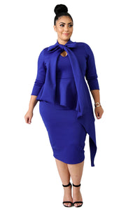 Belinda - Bowknot Mock Neck Plus Size Bodycon Dress
