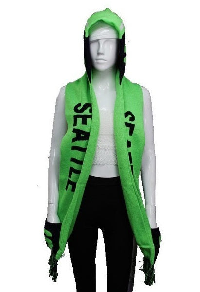 SEATTLE Double Layer Thick Knit Hooded Winter Scarf With Pockets