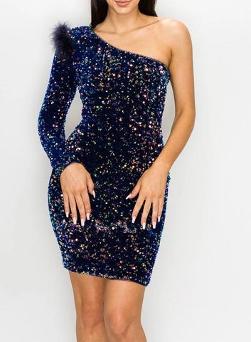 Black Ice Sequin Mini Dress