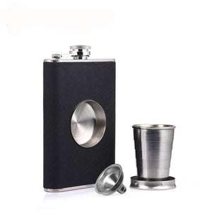 Stainless Steel Flask With Inset Collapsible Cup & Hinged Screw Down Cap, Stainless Steel Flask With Collapsible Cup & Funnel - Dgitrends Watches Gadgets & Accessories