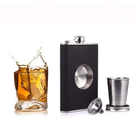 Stainless Steel Flask With Inset Collapsible Cup Hinged Screw Down Cap & Funnel