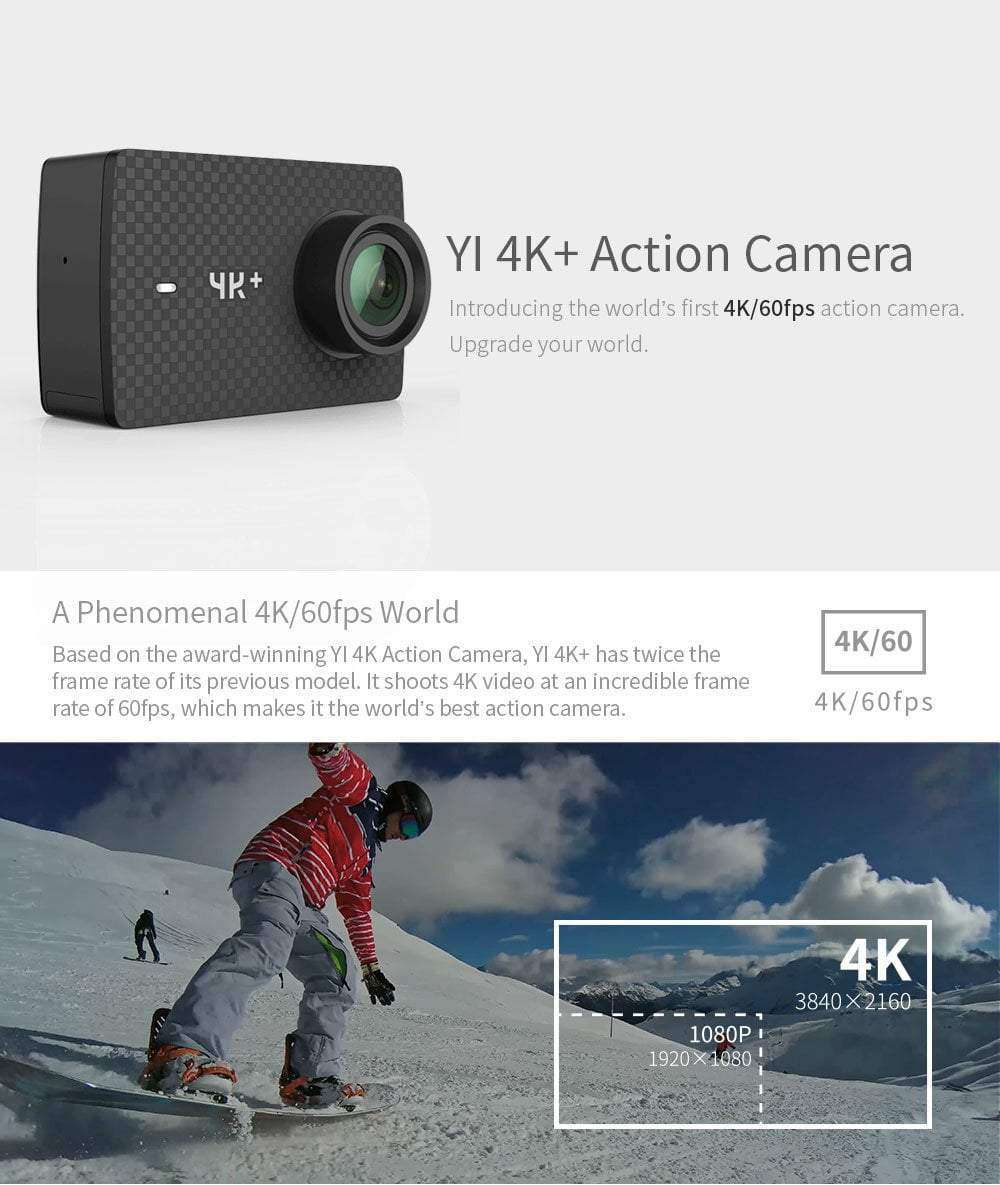 YI 4K +Plus Action Camera 4K/60fps Amba H2 SOC Cortex-A53 IMX377, Action Camera > 4k Camera > Sports Camera > Wide Angle Action Cam - Dgitrends