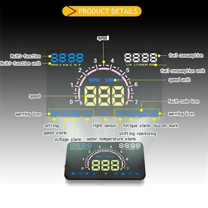 5.8 Inch Aftermarket Heads Up Display With Fault Code Reader, Aftermarket Heads Up Display - Dgitrends