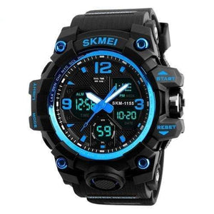 Dgitrends Blue SKMEI New Fashion Men Sports Watches Men Quartz Analog LED Digital Clock Man Military Waterproof Watch Relogio Masculino 1155B