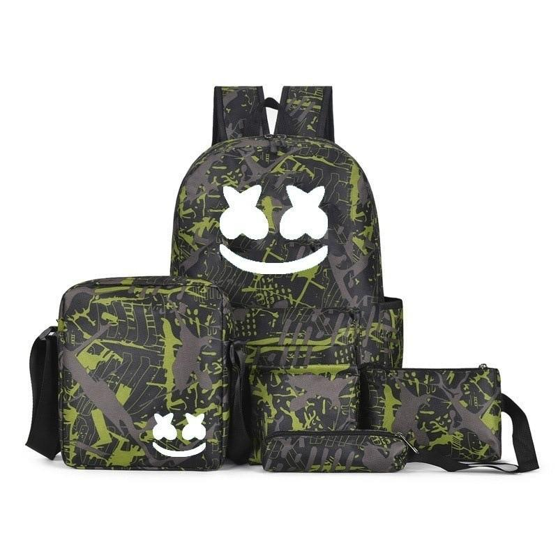 Marshmello Backpack & Accessory Set Bundle, DJ Marshmello 3 Piece Anime Backpack Set - Dgitrends
