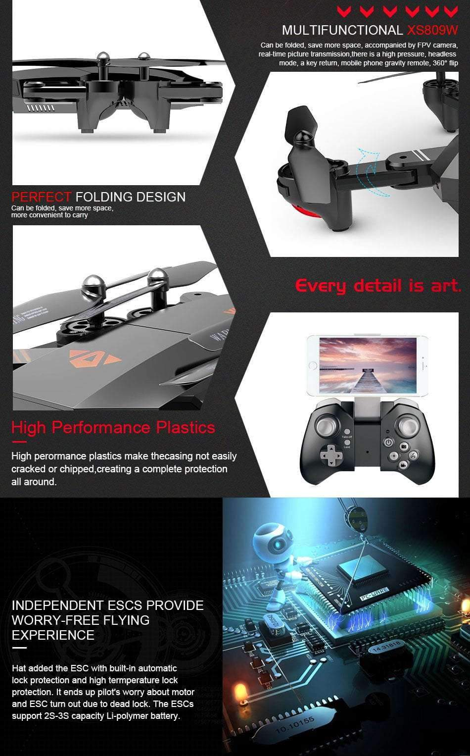 XS809W 0.3MP Mini Foldable Selfie Drone, Drone - Dgitrends
