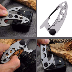 Stainless Steel Carabiner Multi Tool With Closed Wrench Fittings, Tools > Carabiner > Multi Tools > EDC > Carabiner Multi Tools - Dgitrends