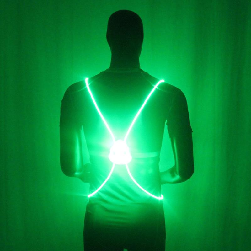 LED Light Up Running Vest Green