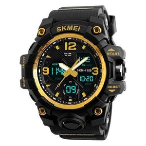 Dgitrends Gold SKMEI New Fashion Men Sports Watches Men Quartz Analog LED Digital Clock Man Military Waterproof Watch Relogio Masculino 1155B