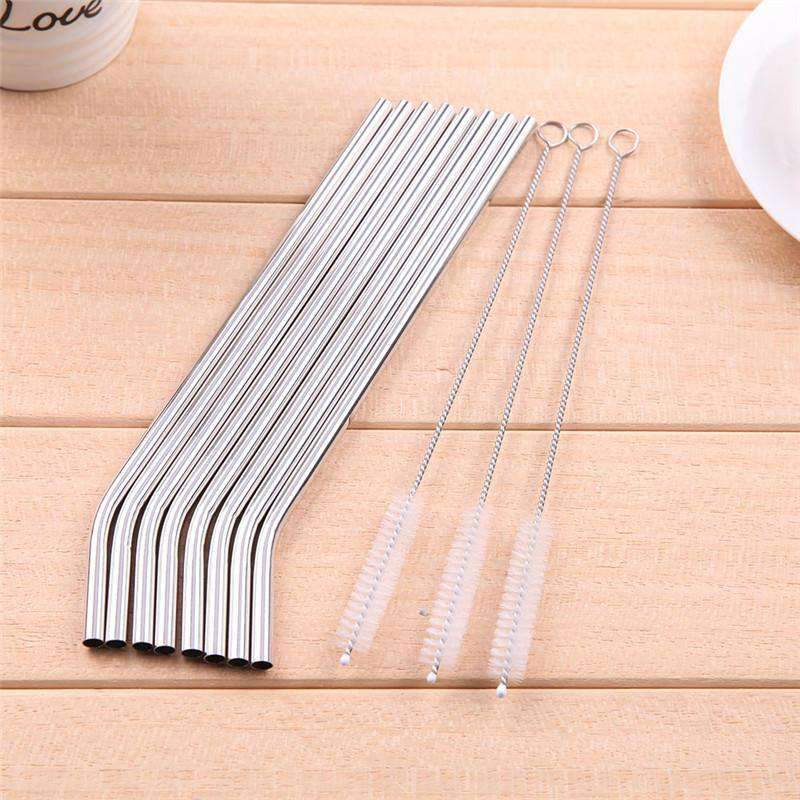 Stainless Steel Drinking Straws 8 Piece Bundle, Stainless Steel Straws > Stainless Steel Straw Bundle - Dgitrends
