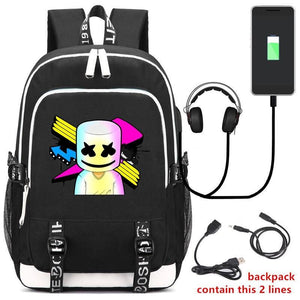 Marshmello Backpack With USB & Headphone Jacks, Marshmello USB Backpack - Dgitrends