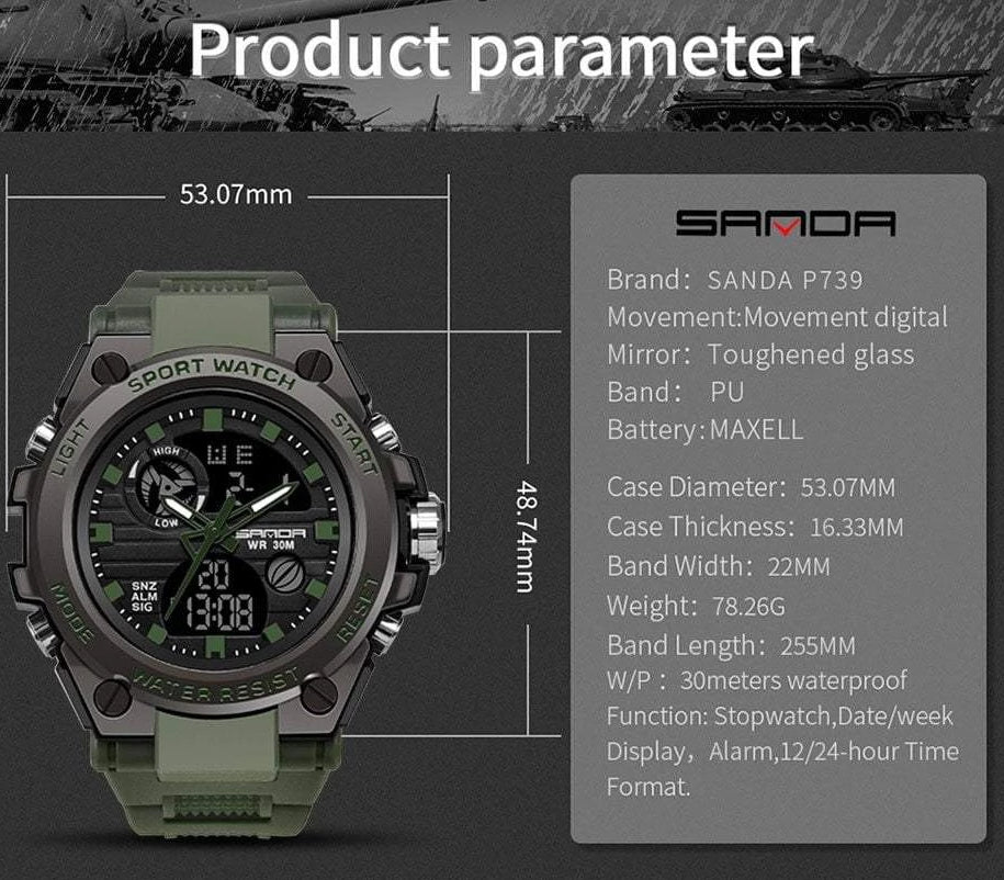 Men's Tactical Military Watch With LED Display, Military Watch - Dgitrends