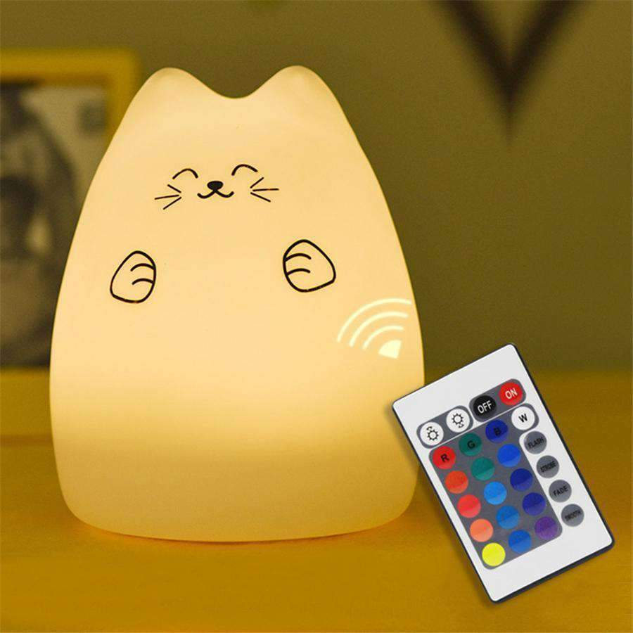 Cat LED Night Light, Squishy Cat Night Light with Remote - Dgitrends