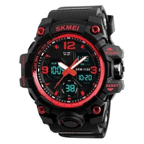 Dgitrends Red SKMEI New Fashion Men Sports Watches Men Quartz Analog LED Digital Clock Man Military Waterproof Watch Relogio Masculino 1155B