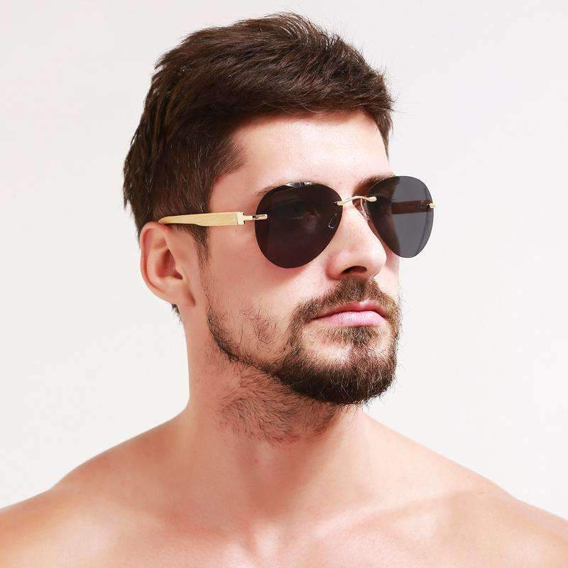 Rimless Aviator Sunglasses With Bamboo Stems, Sunglasses > Eyewear > Daily Use Sunglasses > Inexpensive Sunglasses > Sunglasses For Less - Dgitrends Watches Gadgets & Accessories