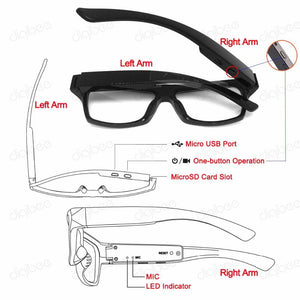 1080P HD Wearable Camera Glasses With T90 Flexible Frame., T90 HD Camera Glasses - Dgitrends