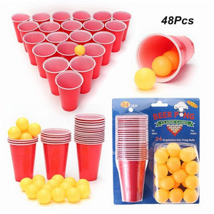 Beer Pong Kit Party Fun 24 Cups  & 24 Balls, Tabletop Board Game - Dgitrends