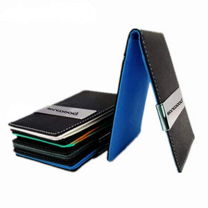 Men's Faux Leather Slim Wallet And Money Clip, Leather Minimalist Wallet - Dgitrends