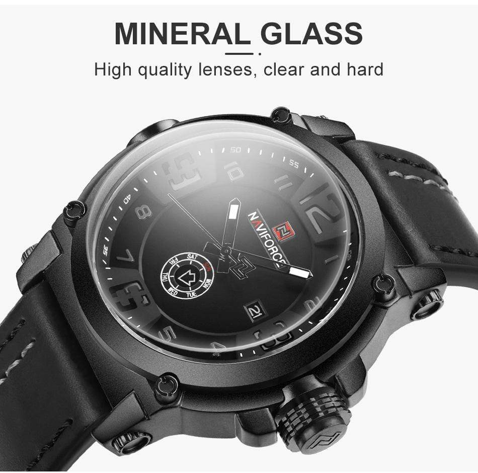 Men's Military Watch 45.5 mm Head With Leather Band, Watch > Military Watch With Leather Band - Dgitrends