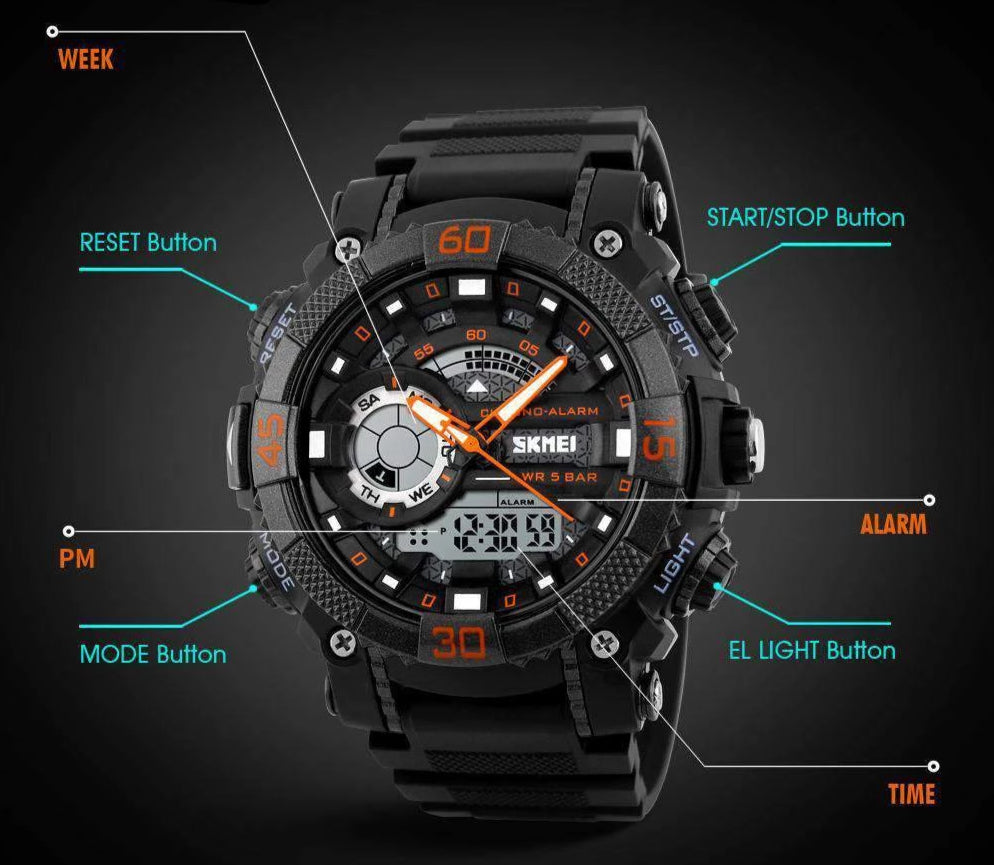 Dual Time Military Sport Watch, Miulitary Watch - Dgitrends
