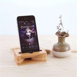 iPhone Bamboo Sound Amplifier Charging Stand, iPhone Sound Amplifier Wooden iPhone Dock - Dgitrends