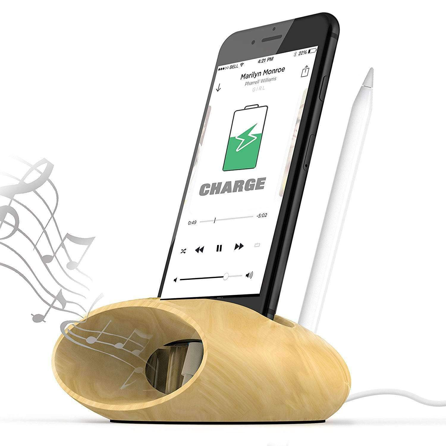 Wood iPhone Charging Dock, iPhone Sound Amplifier Wooden iPhone Dock - Dgitrends