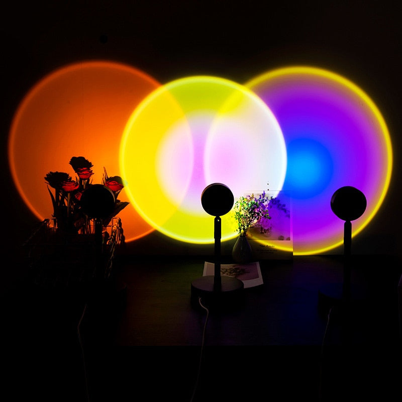 Sunset Projection lamp, Sunset Projection Floor Light Rainbow Modern Led Floor Light, Living Room Stand Light, Bedroom Projector Floor lamp