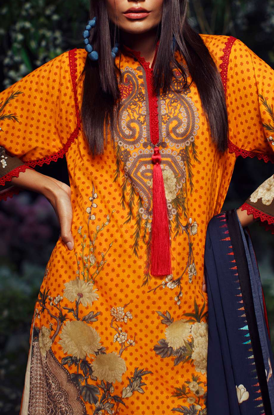 SANA SAFINAZ - MAHAY LAWN - CODE: 5B - 2PIECE - UNSTITCHED -ORANGE