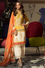 SANA SAFINAZ - MAHAY LAWN - CODE: 3A - 2PIECE - UNSTITCHED - YELLOW