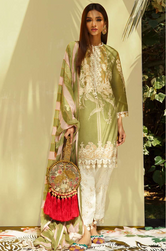 SANA SAFINAZ - MAHAY LAWN - CODE: 10B - 3PIECE - UNSTITCHED - GREEN