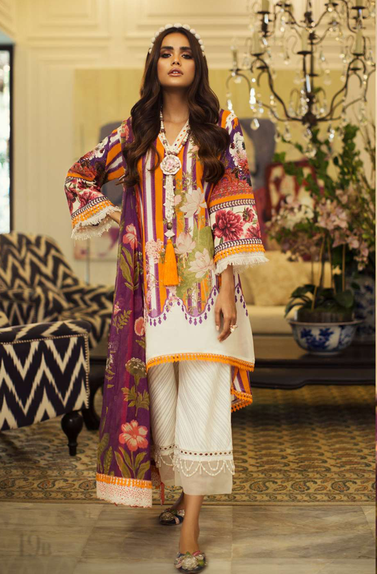 SANA SAFINAZ - MAHAY LAWN - CODE: 19B - 2PIECE - UNSTITCHED - ORANGE