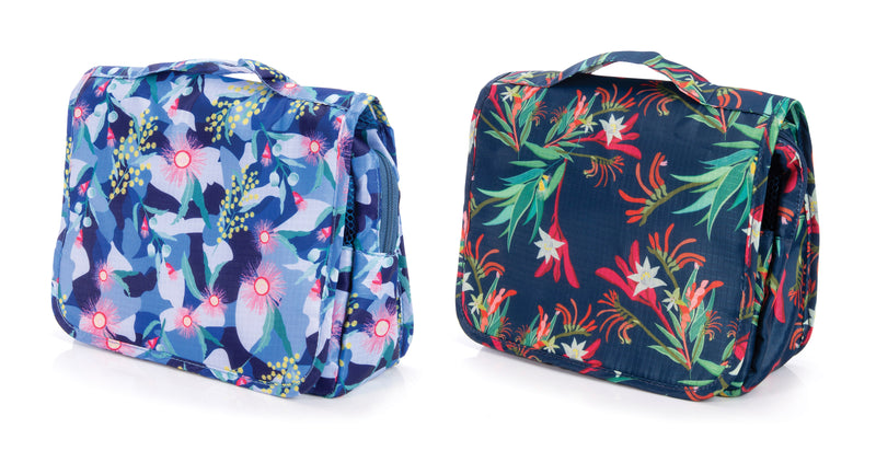 IS Gift Australian Collection Hanging Toiletry Bag Botanical Navy