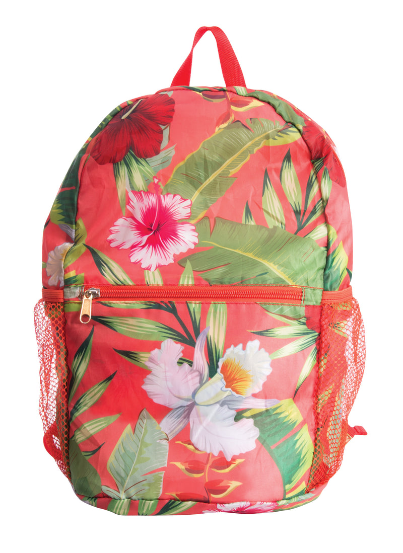 IS GIFT Port-A-Pack – Foldable Backpack Tropical Flowers