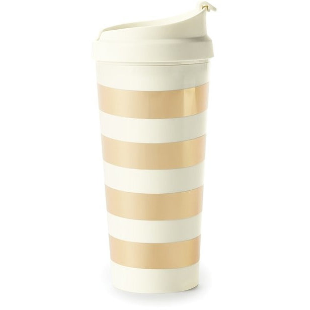 Kate Spade New York Thermal Travel Mug Gold Stripe,Reusable Coffee Cup, Kate Spade New York - Yum Yum Store