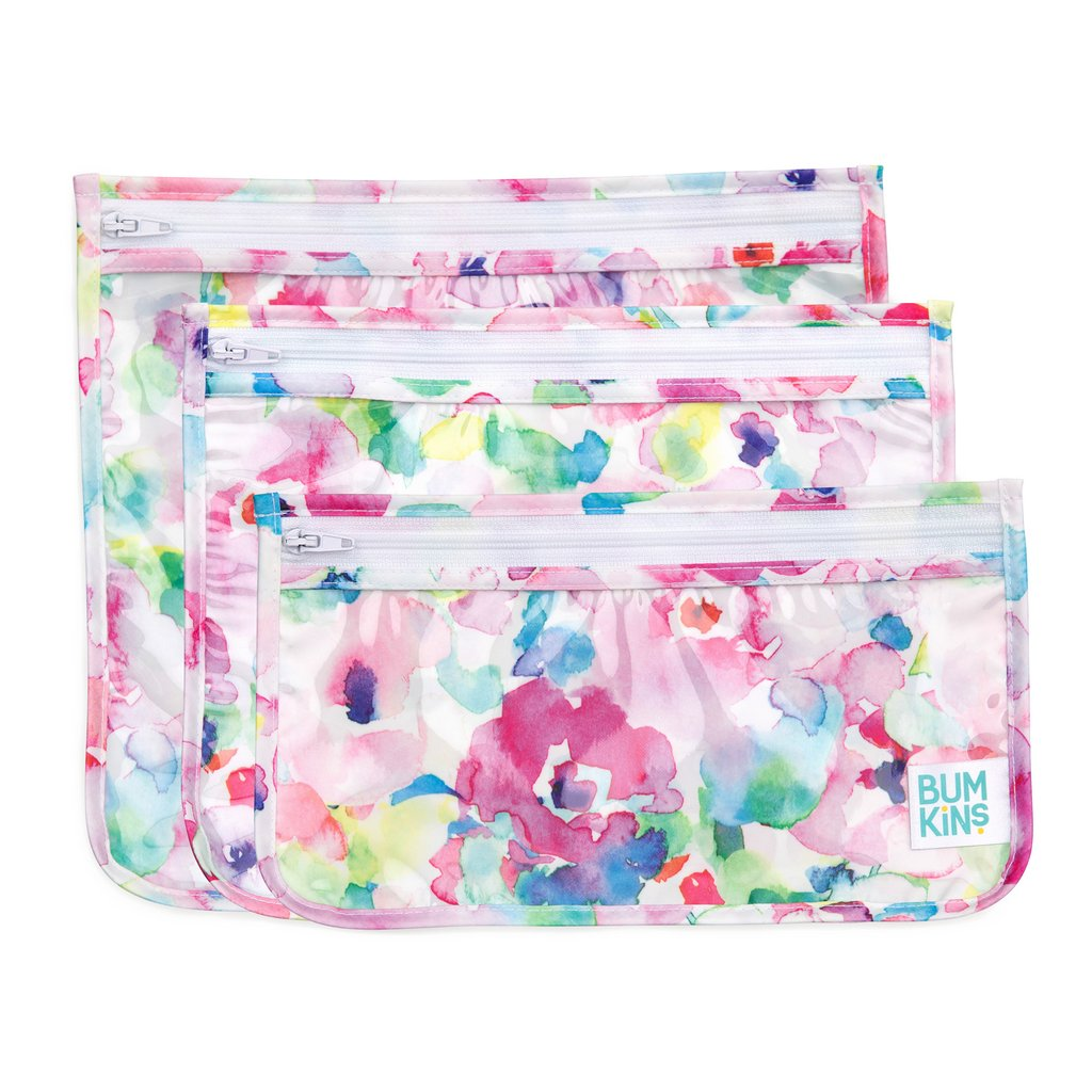 Bumkins Clear Travel Bag 3 Pack - Watercolour