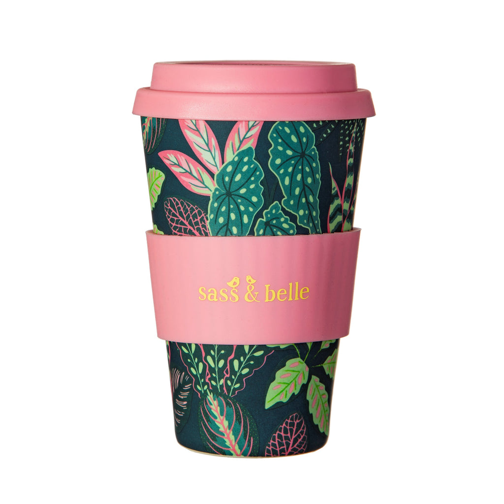 Sass & Belle Variegated Leaves Bamboo Coffee Cup