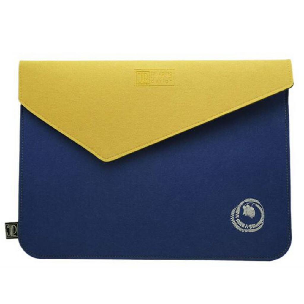 Jo Luping Design - Kowhai Blue & Yellow - Ecofelt Laptop Bag