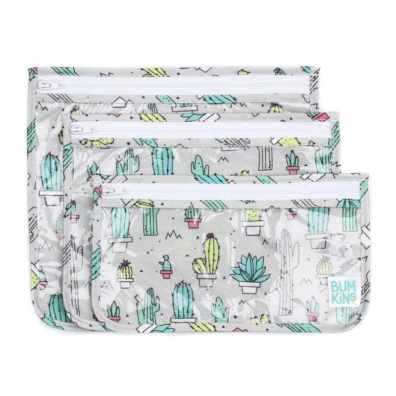 Bumkins Clear Travel Bag 3 Pack - Cacti,Reusable Storage Bags, Bumkins - Yum Yum Store