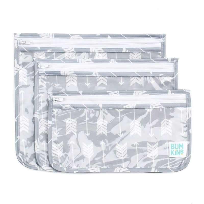 Bumkins Clear Travel Bag 3 Pack - Grey Arrow,Reusable Storage Bags, Bumkins - Yum Yum Store