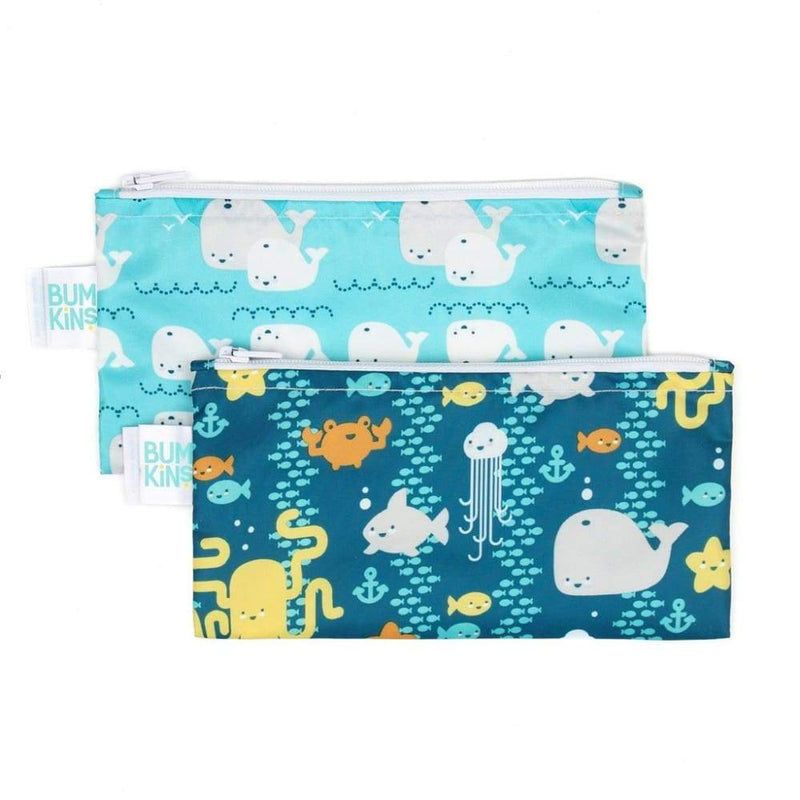 Bumkins Small Snack Bag 2 Pack Sea Friends / Whales,Reusable Snack Bag, Bumkins - Yum Yum Store