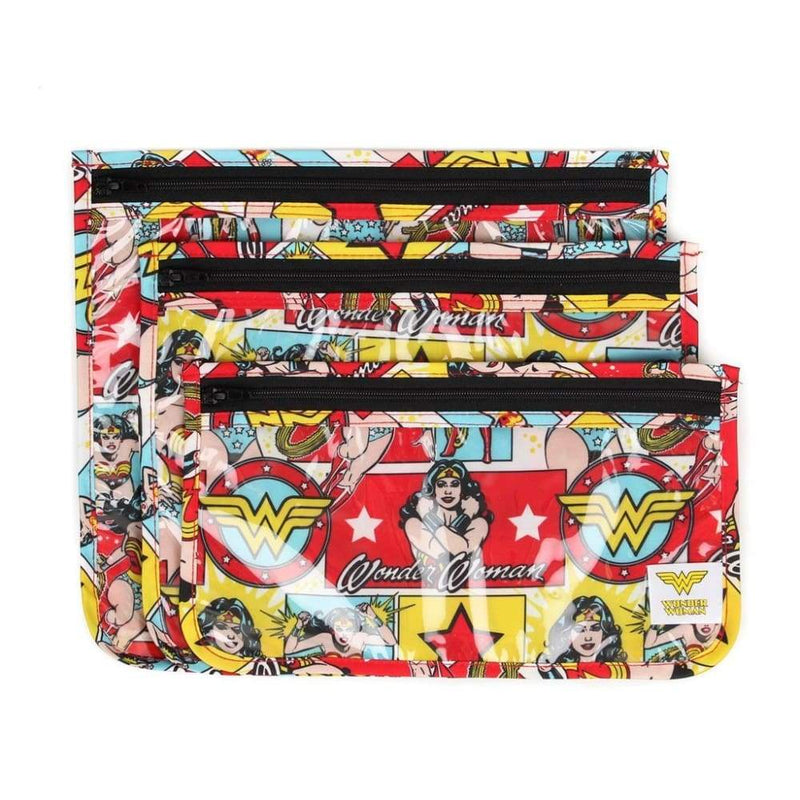 DC Comics Clear Travel Bag 3 Pack - Wonder Woman,Reusable Storage Bags, DC Comics - Yum Yum Store