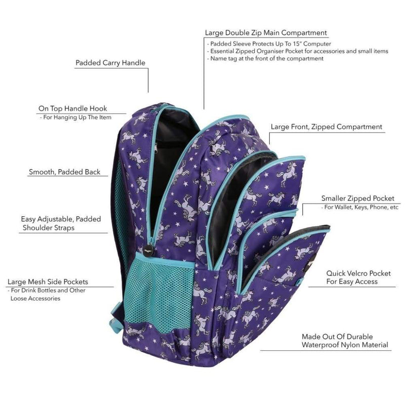 Fringoo Multi Compartment Backpack Unicorn Sky,Backpack, Fringoo - Yum Yum Store