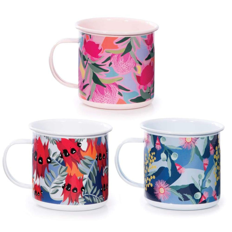 IS Gift Botanical Enamel Mug Pink,Mug, IS Gift - Yum Yum Store