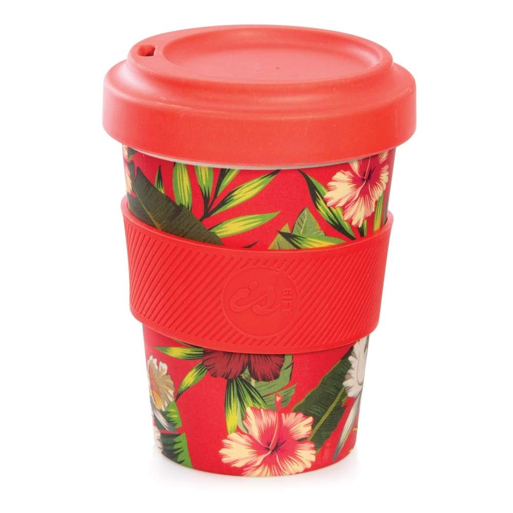 IS GIFT eCup - Bamboo Tropical Print Red,Reusable Coffee Cup, IS Gift - Yum Yum Store