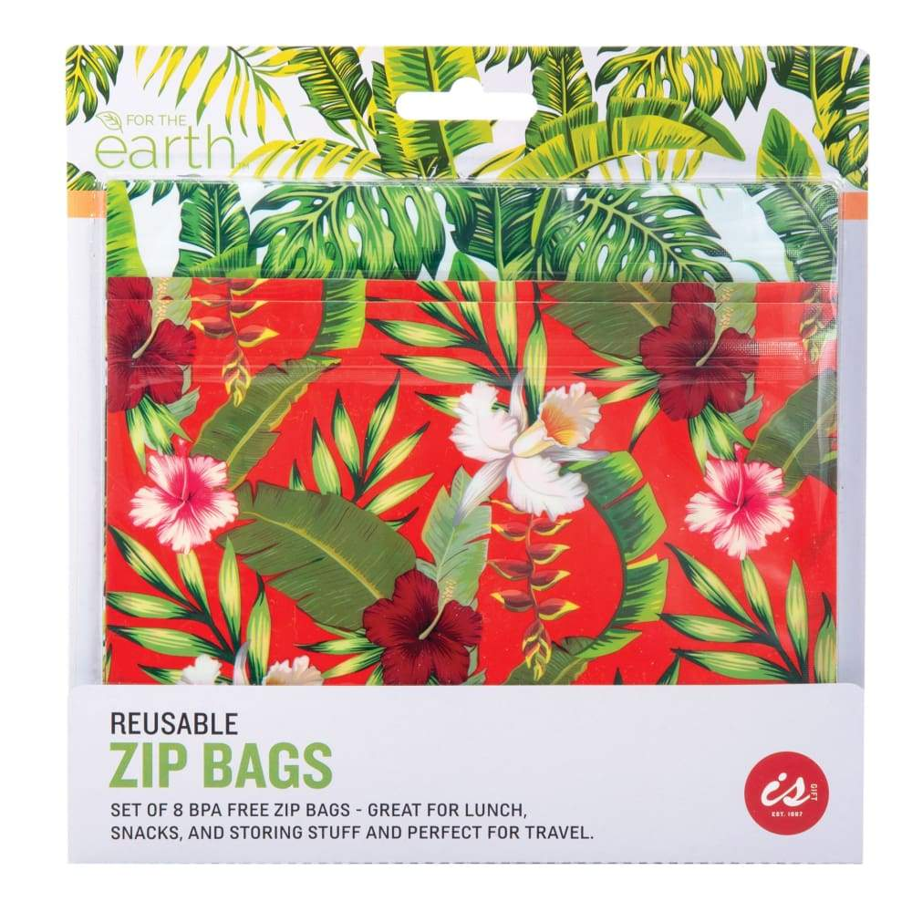 IS GIFT Reuseable Zip Bags (set of 8) - Tropical,Reusable Storage Bags, IS Gift - Yum Yum Store